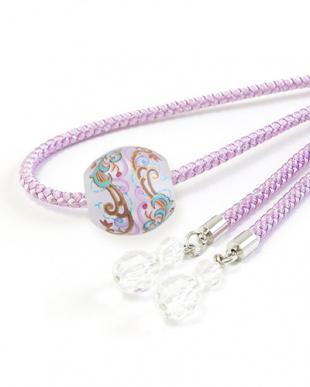 パープル モダン転写トンボ玉太糸飾り紐|WOMEN見る