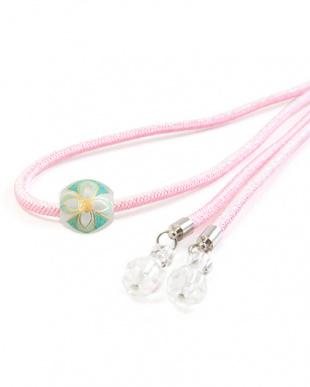 ピンク 花転写トンボ玉細糸飾り紐|WOMEN見る
