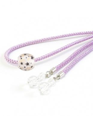 パープル  星転写トンボ玉太糸飾り紐|WOMEN見る