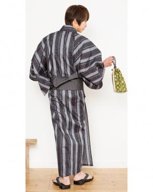 チャコール系 縞B 浴衣+ワンタッチ角帯+下駄|MEN見る