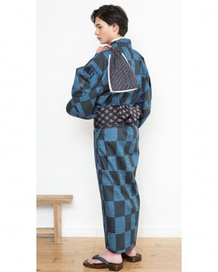 ブルー系 市松 浴衣+ワンタッチ角帯+下駄|MEN見る