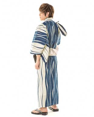 ブルー系 太×細よろけ縞 浴衣+ワンタッチ角帯+下駄|MEN見る