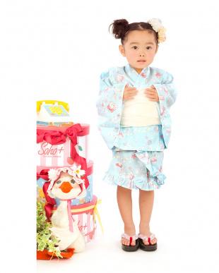 ライトブルー系 Sahoコラボ マーメイド 浴衣ドレス+帯見る