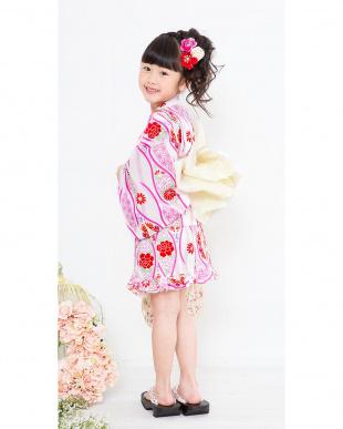 ホワイト×ピンク系 古典柄&ウェーブ  浴衣ドレス+帯見る