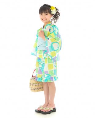寒色系 スクエア&サークル  浴衣ドレス+帯見る