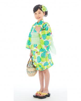 ホワイト×イエローグリーン系 金魚  浴衣ドレス+帯見る