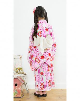 ホワイト×ピンク系 古典柄&ウェーブ  浴衣+帯見る