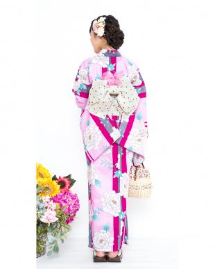 ピンク系 大花&縦縞 スクール浴衣+造り帯+下駄|GIRL見る