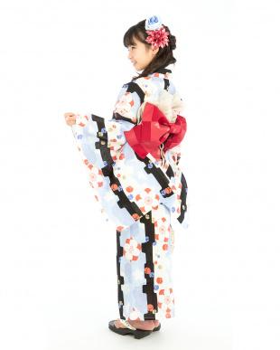 ホワイト系 花&蕾 スクール浴衣+造り帯+下駄|GIRL見る