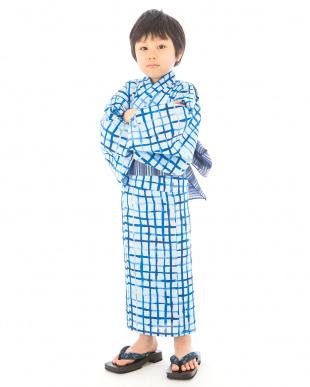 ブルー系 手描き風格子 浴衣+帯|BOY見る