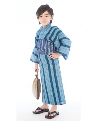ブルー系 杉柄模様 浴衣+帯|BOY見る
