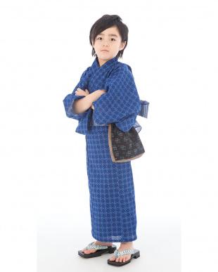 ブルー系 和柄 浴衣+帯|BOY見る