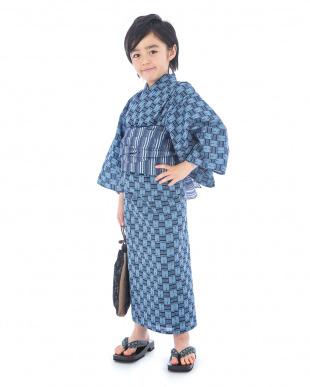 ブルー系 ライン入り格子 浴衣+帯|BOY見る