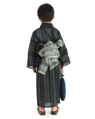 チャコール系 ランダム縦縞 浴衣+帯|BOY見る