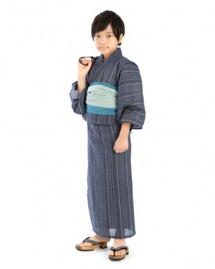 グレー系 縦縞MIX 浴衣+帯|BOY見る