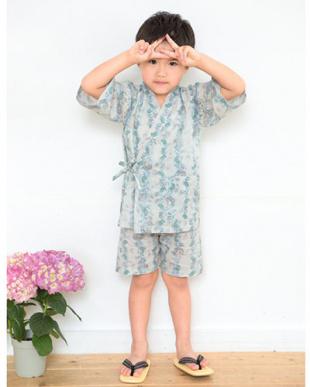 ライトグレー×ブルー系 ペイズリー&リーフ 甚平|BOY見る