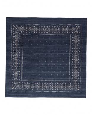 ブルー  バンダナ シェニールラグ 200×250cm見る