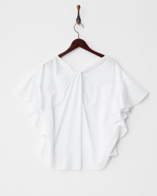 ホワイト  BACKクロス袖フレアTシャツ見る