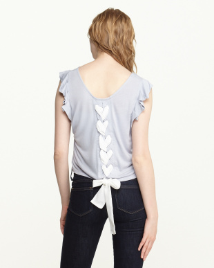 ライトブルー 後ろ編み上げTシャツ見る