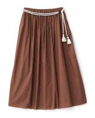 ブラウン  ロープベルトマキシスカート見る