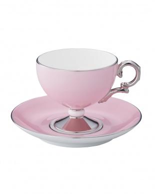 花白露 ティー・コーヒー碗皿ペアセット(ピンク&グリーン)見る
