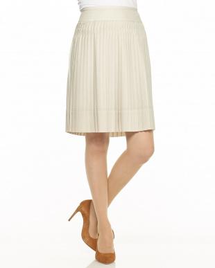 ベージュ デザインプリーツスカート見る