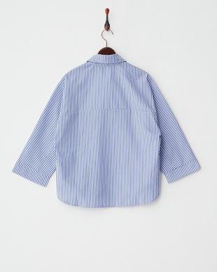 ブルー×ホワイト  刺繍シャツ見る