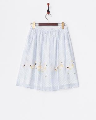 ブルー  フラミンゴプリント スカート見る
