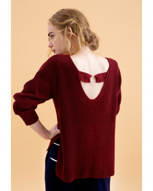 BORDEAUX  RIB KNITTED V-NECKED TOP見る