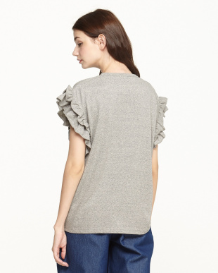 GREY  PIMACLE STRETCH JERSEY RUFFLE SLEEVE TOP見る