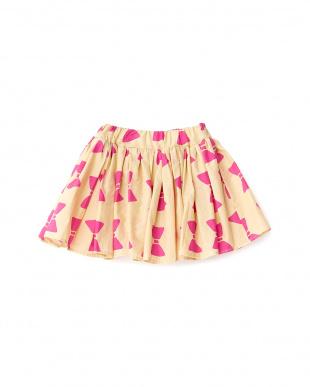 ベージュ  リボンプリントギャザースカート見る