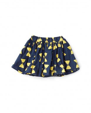 ネイビー  リボンプリントギャザースカート見る