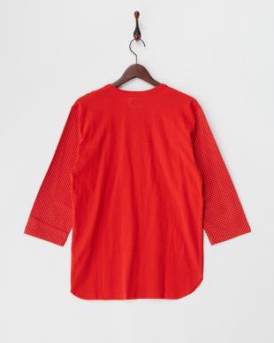 レッド ドット切り替えプリント七分袖Tシャツ見る