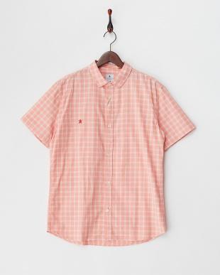 ピンク  チェック柄半袖シャツ見る