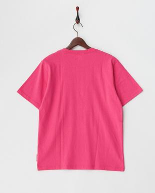 ピンク  ボックスプリント半袖Tシャツ見る
