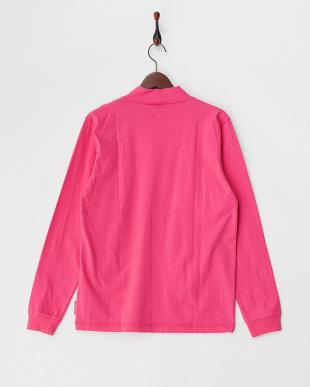ピンク  モックネックプリント長袖Tシャツ見る