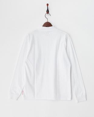 ホワイト  モックネックプリント長袖Tシャツ見る