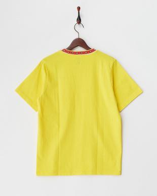 イエロー 民族調切り替え半袖Tシャツ見る