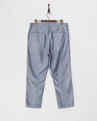 ブルー COOL MAX麻混七分丈パンツ見る