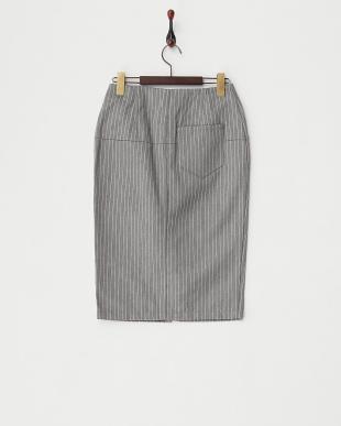グレー シルク混ピンストライプタイトスカート見る