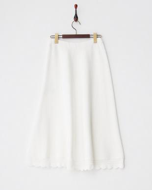 ホワイト スカラップフレアニットスカート見る