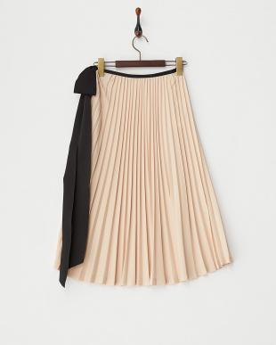 サーモンピンク サイドオープンプリーツリボンスカート見る