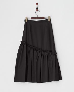 ブラック  ボリュームヘムフレアスカート見る