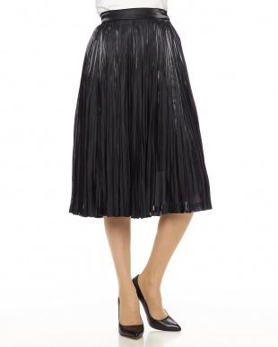ブラック グロッシープリーツスカート見る