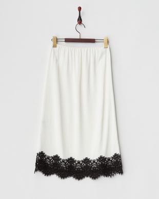 ホワイト  ランジェリーライクペチコートスカート見る