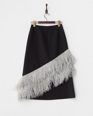 ブラック フェザータイトミディスカート見る