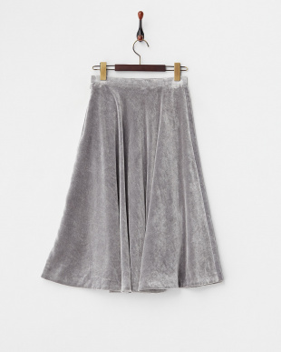 グレー  ベルベットフレアラインスカート見る
