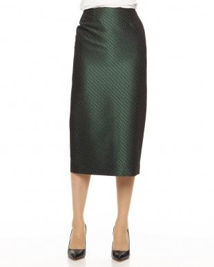 グリーン  ファインパターンジャガードタイトスカート見る