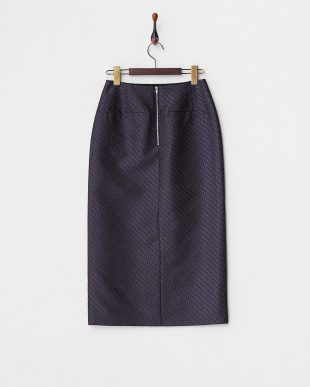 パープル  ファインパターンジャガードタイトスカート見る