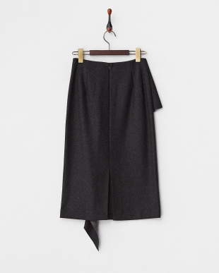 チャコールグレー ウール混ラッフルタイトスカート見る